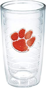 Tervis 1006713 Clemson University Paw Emblem Individual Tumbler, 16 oz, Clear