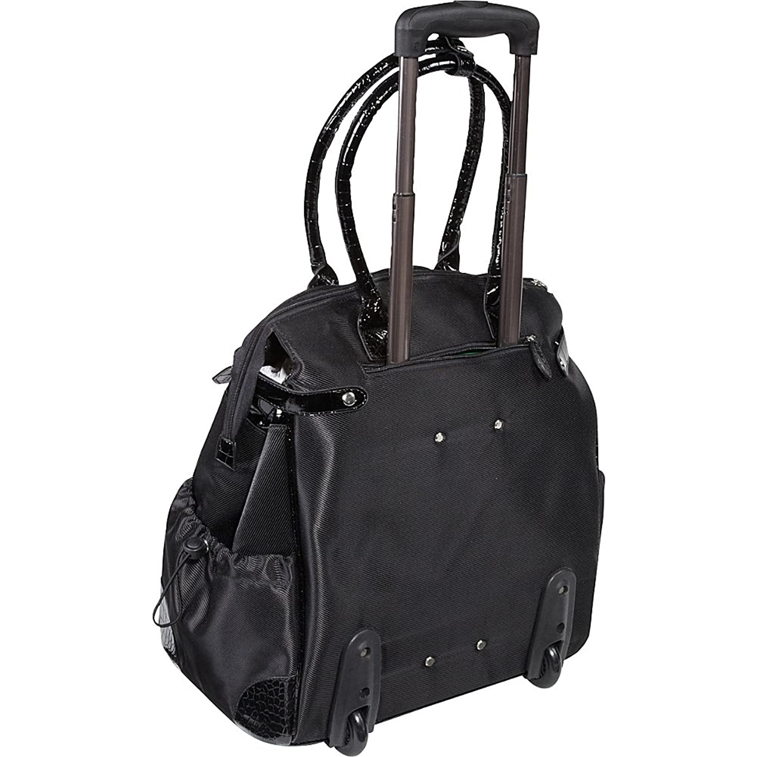 Canvas tote bags on wheels - Amazon Com Amerileather Deluxe Skylar Women S Large Rolling Laptop Tote Black Briefcases