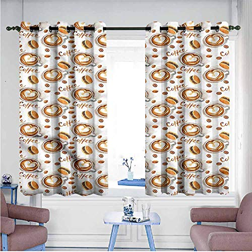 Mdxizc Bedroom Windproof Curtain Coffee Brush Stroke Style Macarons Children's Bedroom Curtain W72 xL72 Suitable for Bedroom,Living,Room,Study, etc.