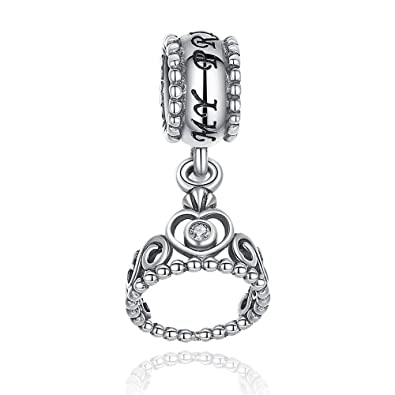 cffecd001 Lily Jewelry My Princess Crown with Clear CZ Dangle 925 Sterling Silver  Bead Fits Pandora European Charm Bracelet: Amazon.co.uk: Jewellery