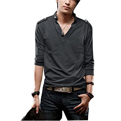 uxcell Men V-neck Button-tab Simple Style Autumn Shirt Dark Gray M ...