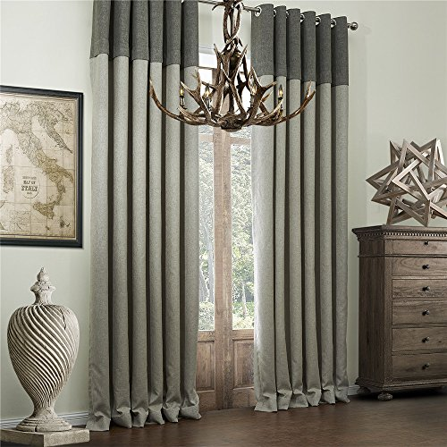 IYUEGO Classic Bamboo Fiber Faux Room Darkening Grommet Top Curtain Draperies With Multi Size Custom 72