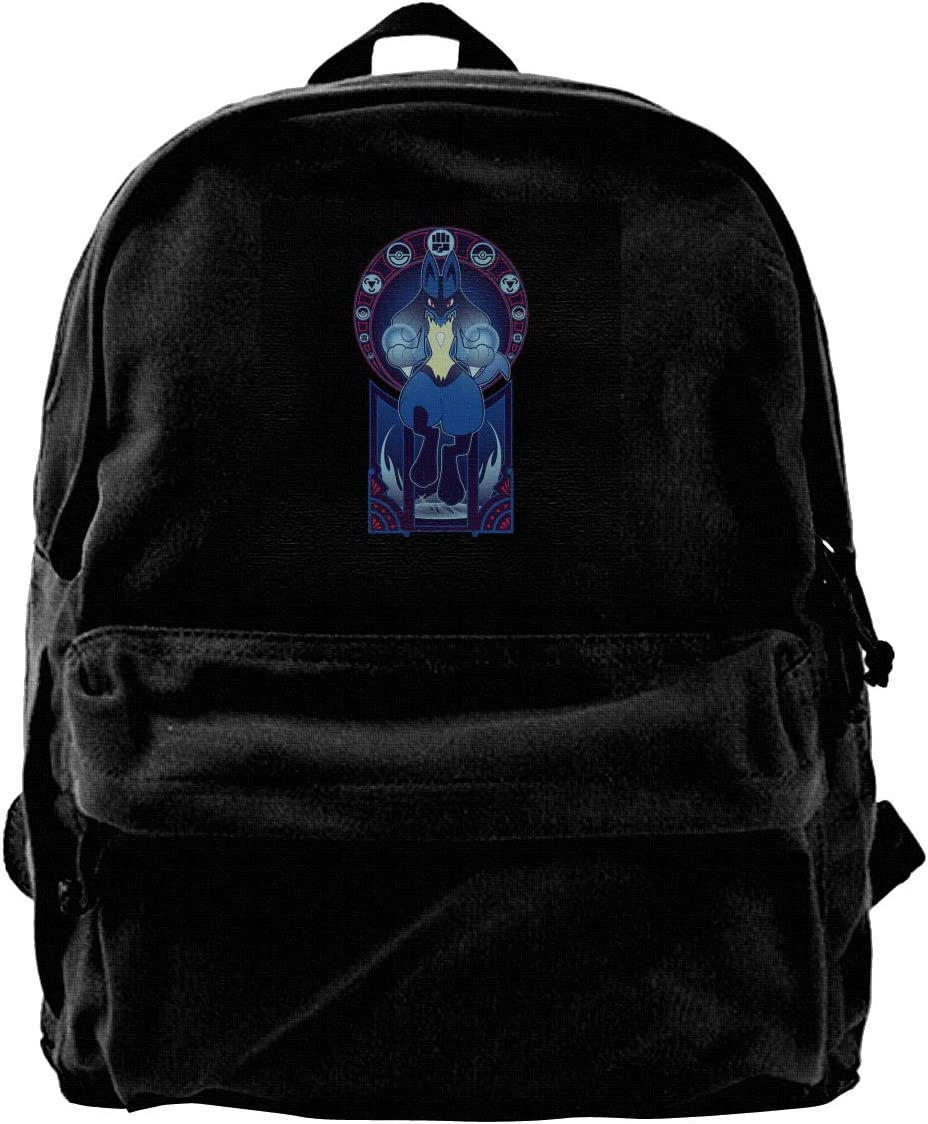 MIJUGGH Canvas Backpack Monster of The Pocket Lucario Art of The Fighter Rucksack Gym Hiking Laptop Shoulder Bag Daypack for Men Women