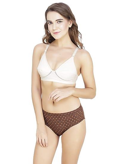 0315d901c4a52 MeryNRoses Sexy Night wear Bra Panty Bikini Lingerie Set Pack of 1 White- Brown