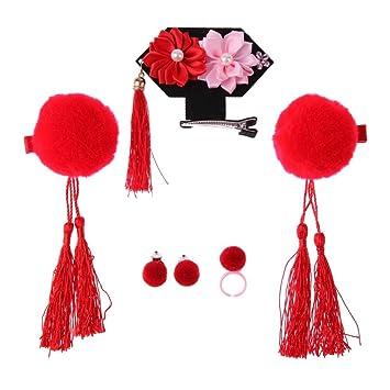 1c3a333c7 Silveroneuk 3pcs Tassel Hair Clip Flower Chinese Style Headdress Girl Sweet  Jewelry(Red