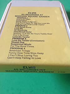 ELVIS PRESLEY As Recorded Live At Madison Square Garden 8 Track Tape