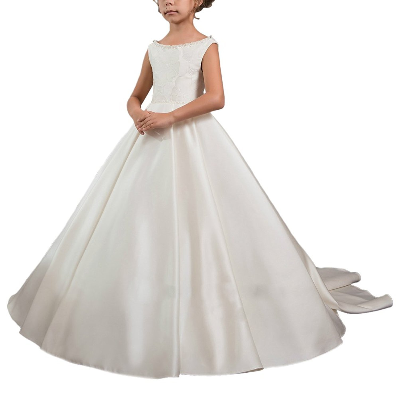VIPbridal Robe blanche de fille de fleur de satin pour la robe de fille de mariage