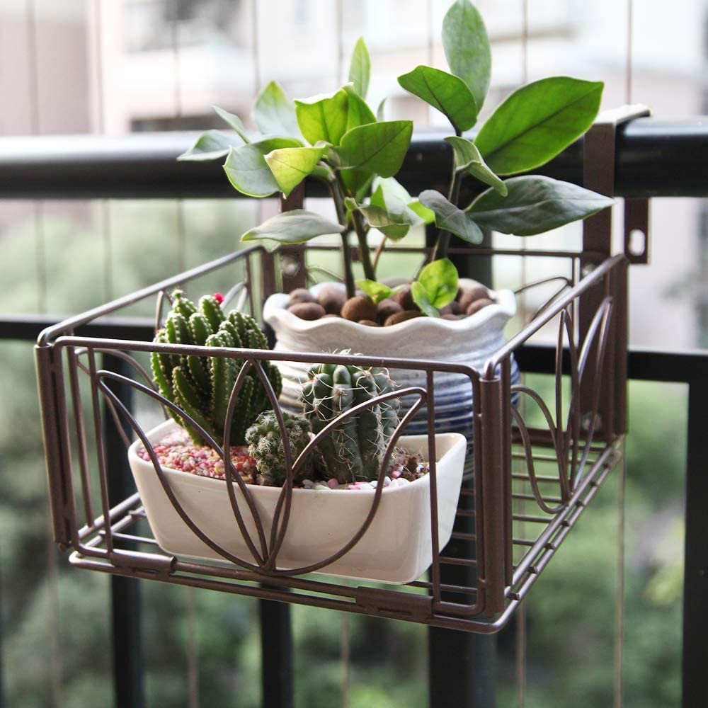 AmnoAmno 2PCS Balcony Hanging Flower Rack Stand Rail Planters Baskets Pots for Outside, Deck Railing Planters Boxes Outdoor Hanger Stand with Strong Metal Folding Design and Easy installation (Bronze) : Garden & Outdoor
