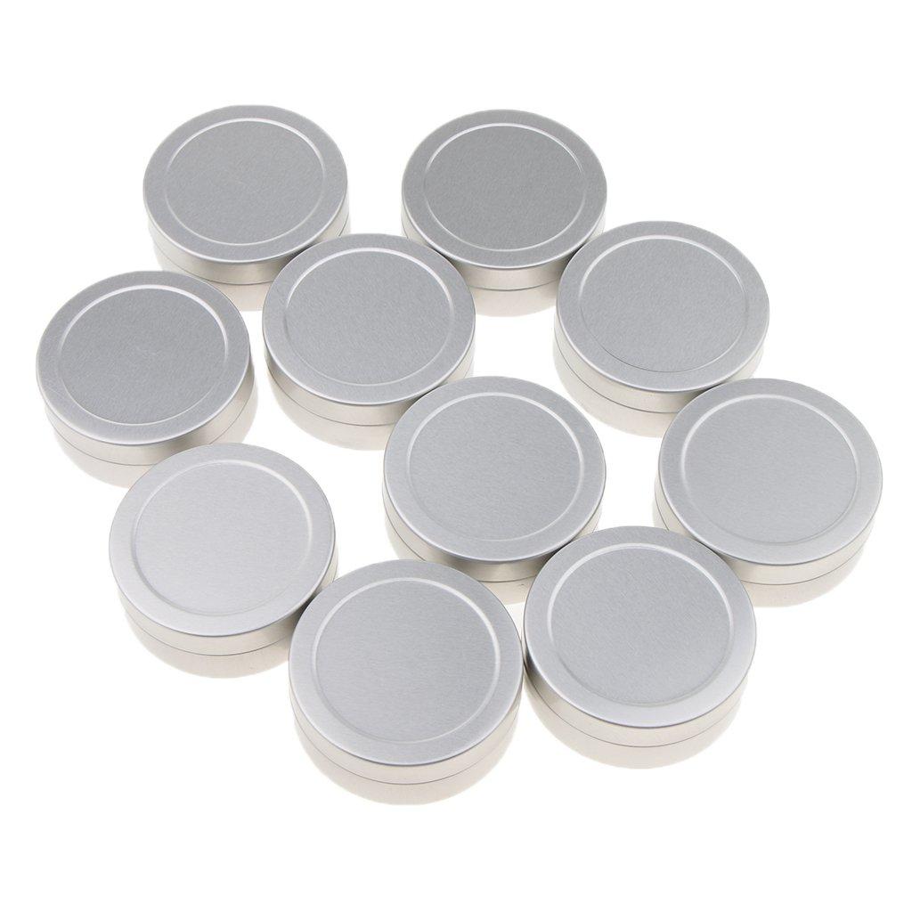 Baoblaze Aluminum Tin Jars, Cosmetic Sample Metal Tins Empty Container Bulk, Round Makeup Pot, Small for Candle, Lip Balm, Salve, Make Up, Eye Shadow, Powder(10pcs,25g)