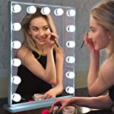 Hollywood Vanity Mirror with Lights,LED Lighted Mirror with 15pcs Dimmable Bulbs,Tabletop or Wall Mounted Dressing…