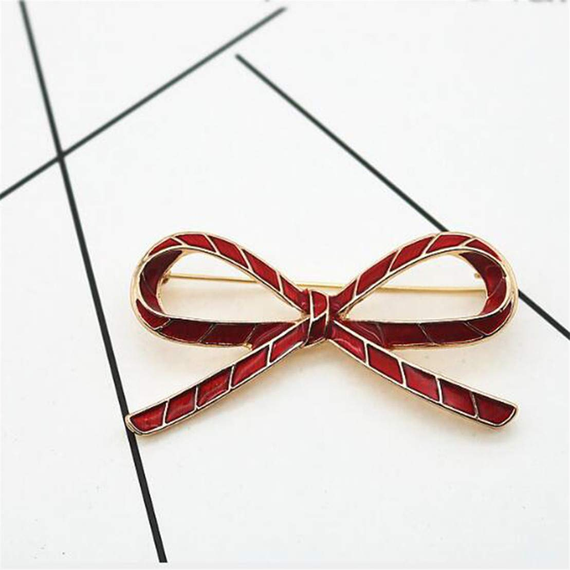 Kissherely /Él/égant Arc Rouge Broche Broche pour Femmes en M/étal /Émail Badge /Écharpe Clip V/êtements D/écor Accessoires