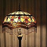Tiffany 16-Inch Flower Tassel European Pastoral Style Elegant Luxury Creative Handmade Stained Glass Tiffany Floor Lamp