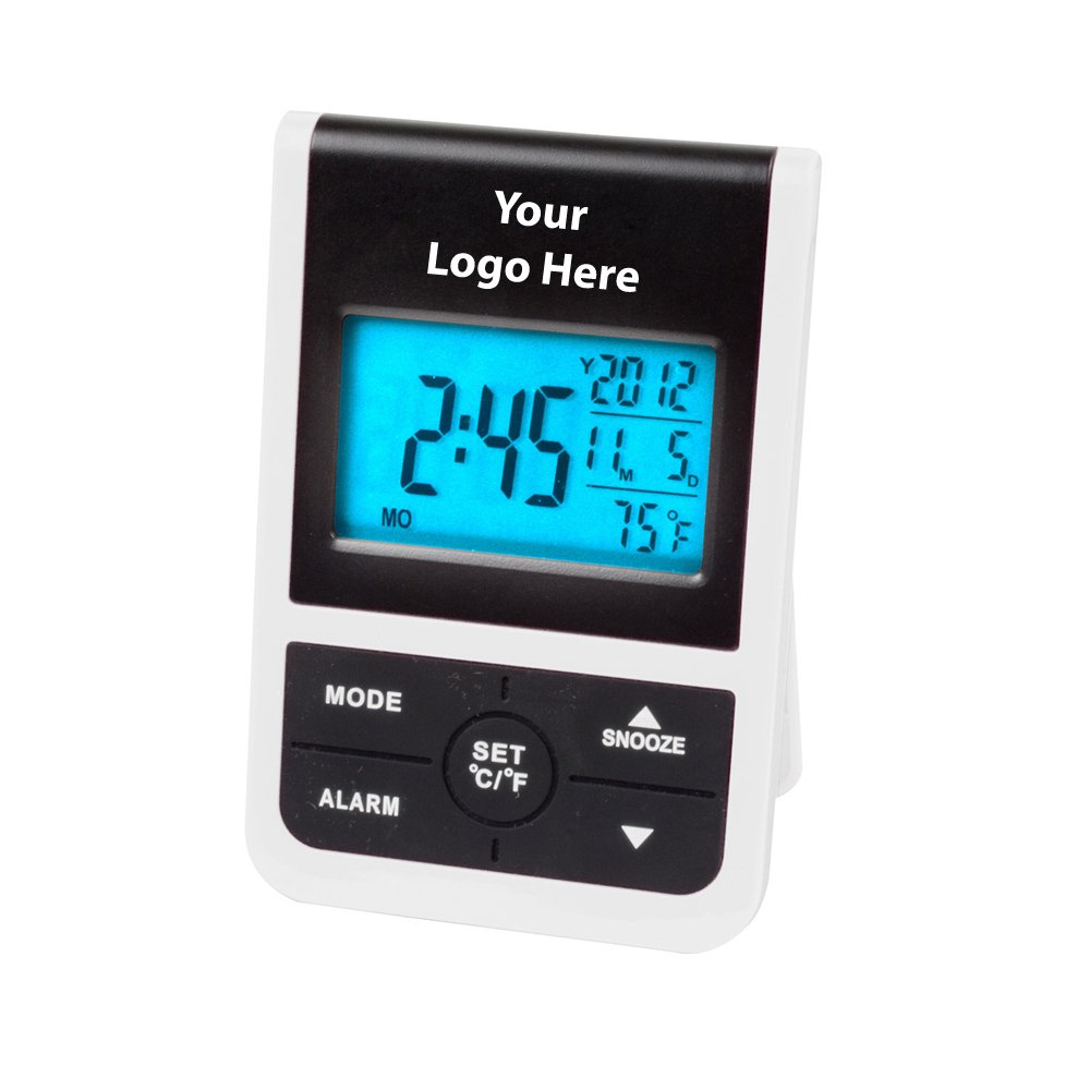 Digital Clock W/ Backlight - 50 Quantity - $8.09 Each - PROMOTIONAL PRODUCT / BULK / BRANDED with YOUR LOGO / CUSTOMIZED by Sunrise Identity
