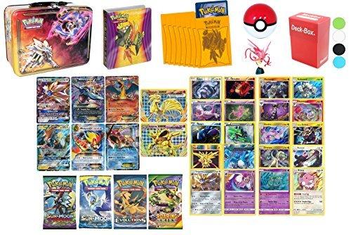 Pokemon Cards MEGA POWER Premium Collection - 2 GX, 2 Mega EX, 2 EX, 2 Break, 2 Sun and Moon Series Boosters, 2 XY Boosters, 10 Legendary Rares, 10 Rares 120HP+, Mini Album, 65 Sleeves, & Deck Box