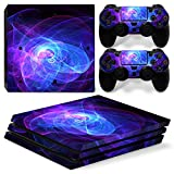 Chickwin PS4 Pro Vinyl Skin Full Body Cover Sticker Decal For Sony Playstation 4 Pro Console and 2 Dualshock Controller Skins (Purple Circle)
