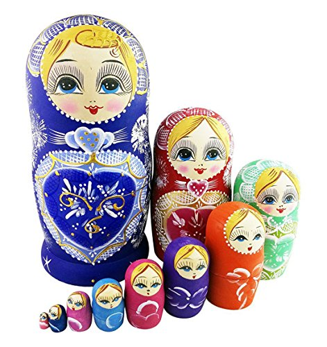 Winterworm Colorful Little Girl Blue Heart Pattern Handmade Wooden Russian Nesting Dolls Matryoshka Dolls Set 10 Pieces for Kids Toy Birthday Home Decoration Collection