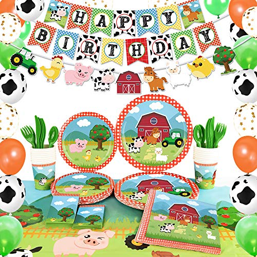 WERNNSAI Farm Birthday Party Supplies - Barnyard Animals Party Decorations for Kids Birthday Banner Balloons Tablecloth Plates Cups Napkins Spoons Forks Cutlery Utensils Serves 16 Guests 153PCS (Dinnerware Animals Barnyard)