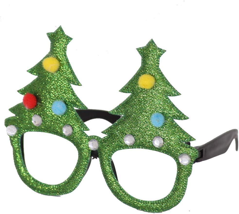 Sqiuxia - Juego de 5 Gafas de Navidad con Purpurina para árbol de ...