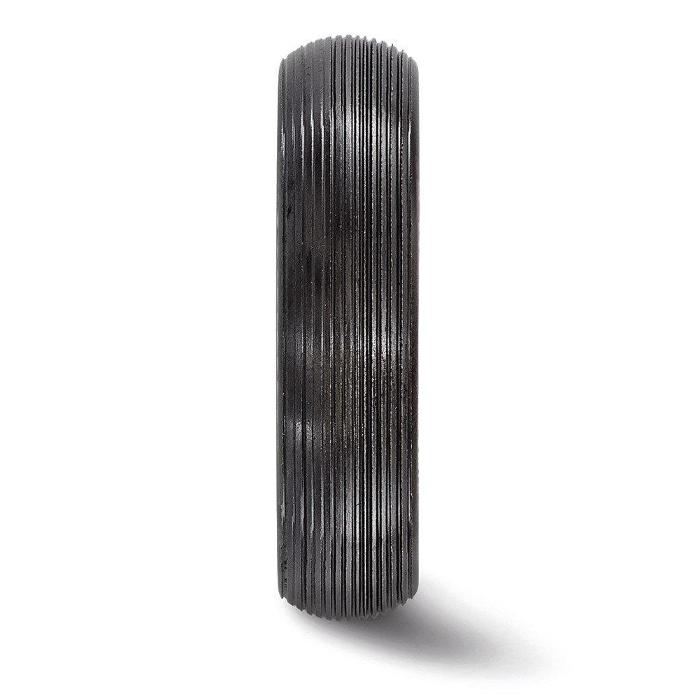 Edward Mirell Titanium Black Ti Domed Textured Lines 6mm Band