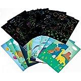 Mocossmy Dinosaur Scratch Artcards Set for Kids - Dinosaur Scratch Paper Art Kit with Scratch Stick,Craft Art Pack Scratch Of