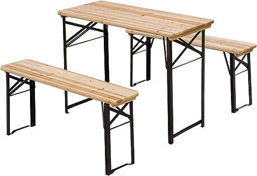 Outsunny – Mesa de Camping portátil (Plegable Caballete Cerveza y Banco de jardín Barbacoa sillas taburetes de Madera (120 cm (L) X 25 cm (W) X 46 cm (H)): Amazon.es: Jardín