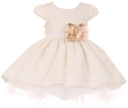 5076213a40 BNY Corner Baby Girl Jacquard High Low Easter Infant Toddler Baby Flower  Girl Dress Off White