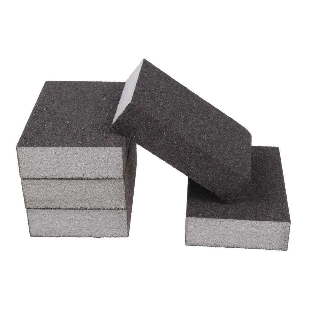 F Fityle 5 PCS Fine Sanding Sponge Sheet Block Pad for Metal Plastic Wood 60-600 Grit - Reusable - Grey, 60-80 Extra Fine