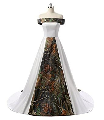 bd9a0c1476d76 macria Women's Strapless Camouflage Wedding Dresses Camo Bridal Gowns Ivory  us22