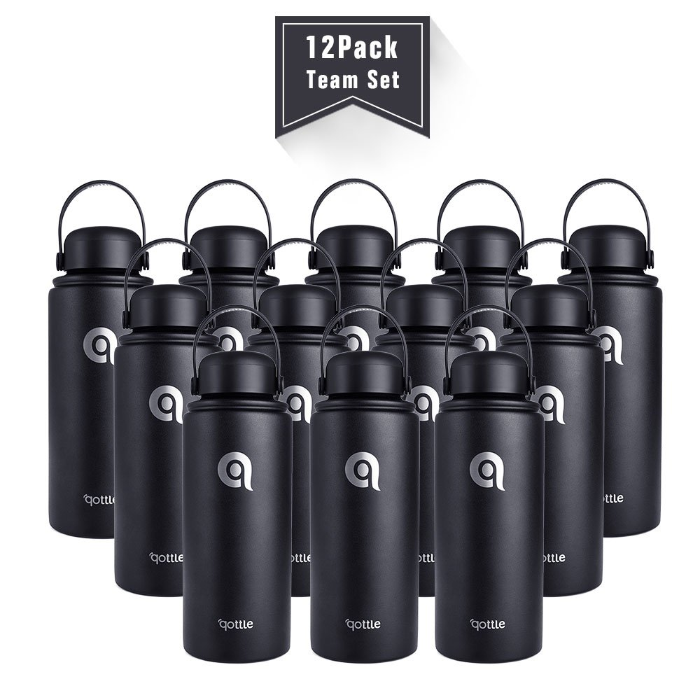 qottle 12Pack 32oz Couple Bottles for Team Members Stainless Steel Double Wall Vacuum Insulated Water Bottles - Portable Handheld Flask for Travel Hiking Sport Home Use-Black