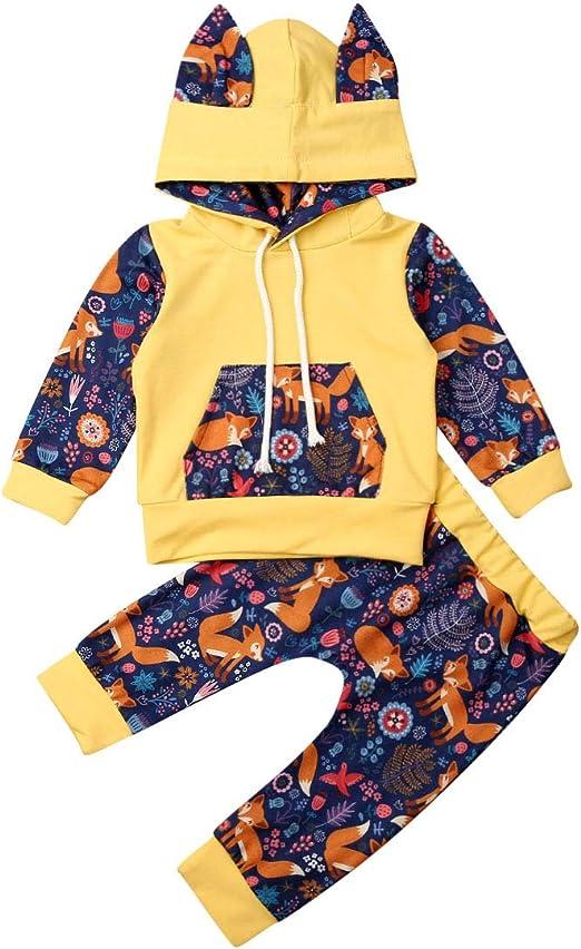 2pcs Toddler Baby Girls Floral Tops Hooded Sweatshirt+Pants Leggings Outfits Set