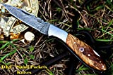 DKC-58-LJ-OW LITTLE JAY Damascus Folding Pocket Knife Olive Wood Handle 4″ Folded 7″ Long 4.7oz oz High Class Looks Feels Great In Your Hand And Pocket Hand Made DKC Knives LJ-Series For Sale