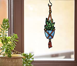 Hanging Succulent Plant -D1- Stained Glass Style See-Through Vinyl Window Decal . (Large 3.25