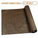 Sunshades Depot 6′ x 51′ Shade Cloth 180 GSM HDPE Brown Fabric Roll Up to 95% Blockage UV Resistant Mesh Net For Sale