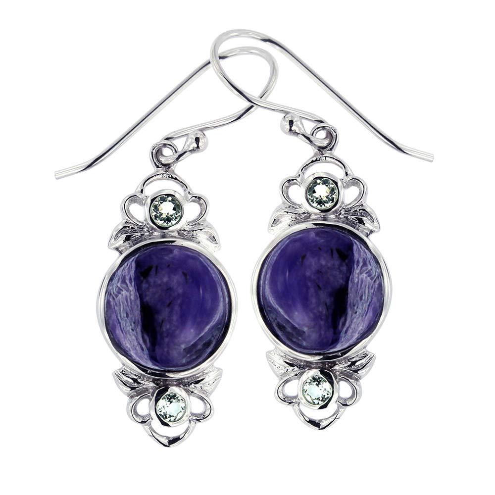 Rhodium Plated 925 Sterling Silver Purple Charoite &White Topaz Gemstone Vintage Dangle Earrings