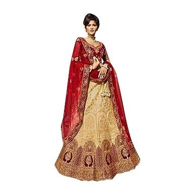 8510 Red and Beige Designer Bridal Lehenga Choli Dupatta Skirt ...