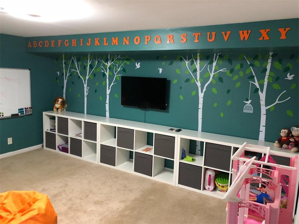 Fymural 5 Trees Wall Decals - Forest Mural Paper for Bedroom Kid Baby Nursery Vinyl Removable DIY Decals 103.9x70.9, White+Green by Fymural (Image #3)