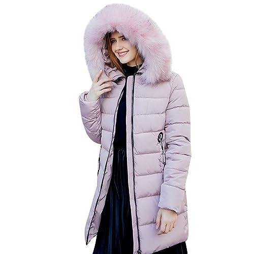 ZKOO Mujer Abrigo Chaqueta Invierno Con Cuello De Piel Espesado Abrigo Con Capucha Encapuchado Quilt...