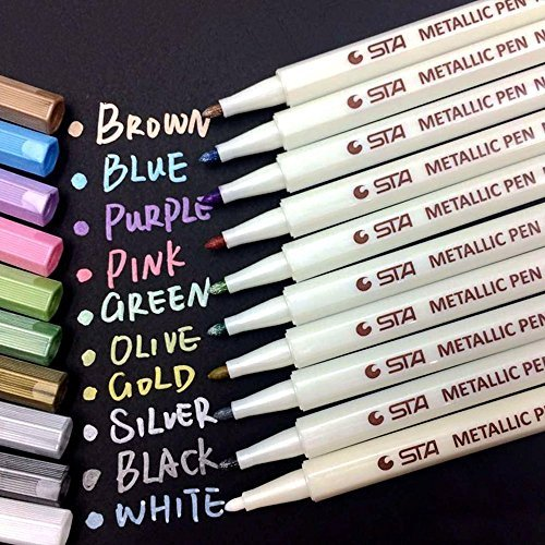 Metallic Marker Pens, Audel Set of 10 Assorted Different Colors Metallic Pens on Surface of Paper Glass Wood Pottery Ceramic Card Making and DIY Photo Album Drawing Art Paint (White Cloth Album)