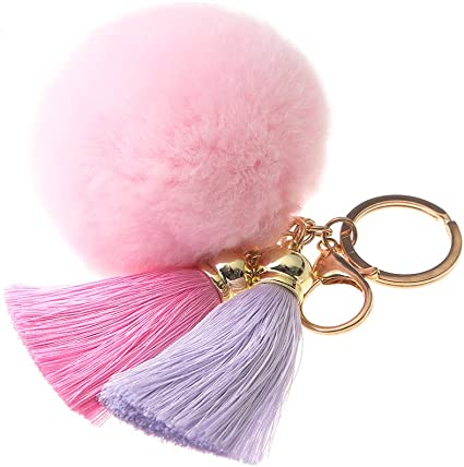 Weich Schlüsselring Bommel Damen Mädchen Süß Kunstpelz Ball Handy Handtasche