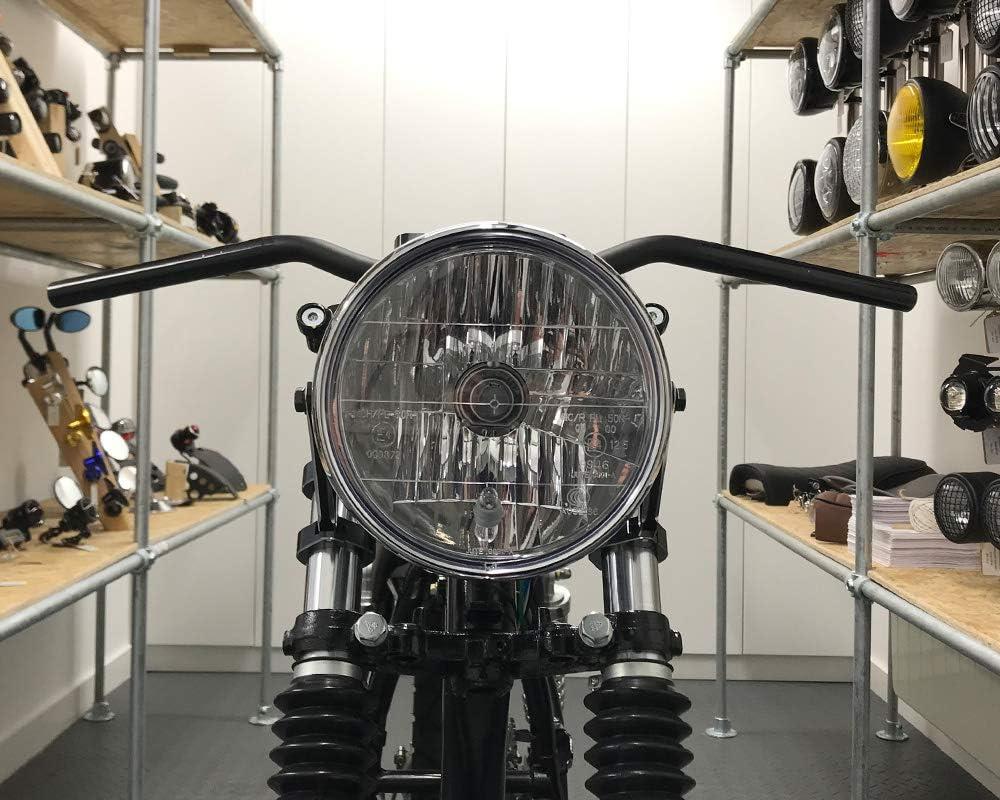 Cromo para Retro Cafe Racer Project Faro De La Moto 7.5 55W Homologado