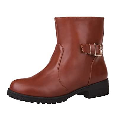 Women's Low-Heels Soft Material Mid Top Solid Pull-On Boots