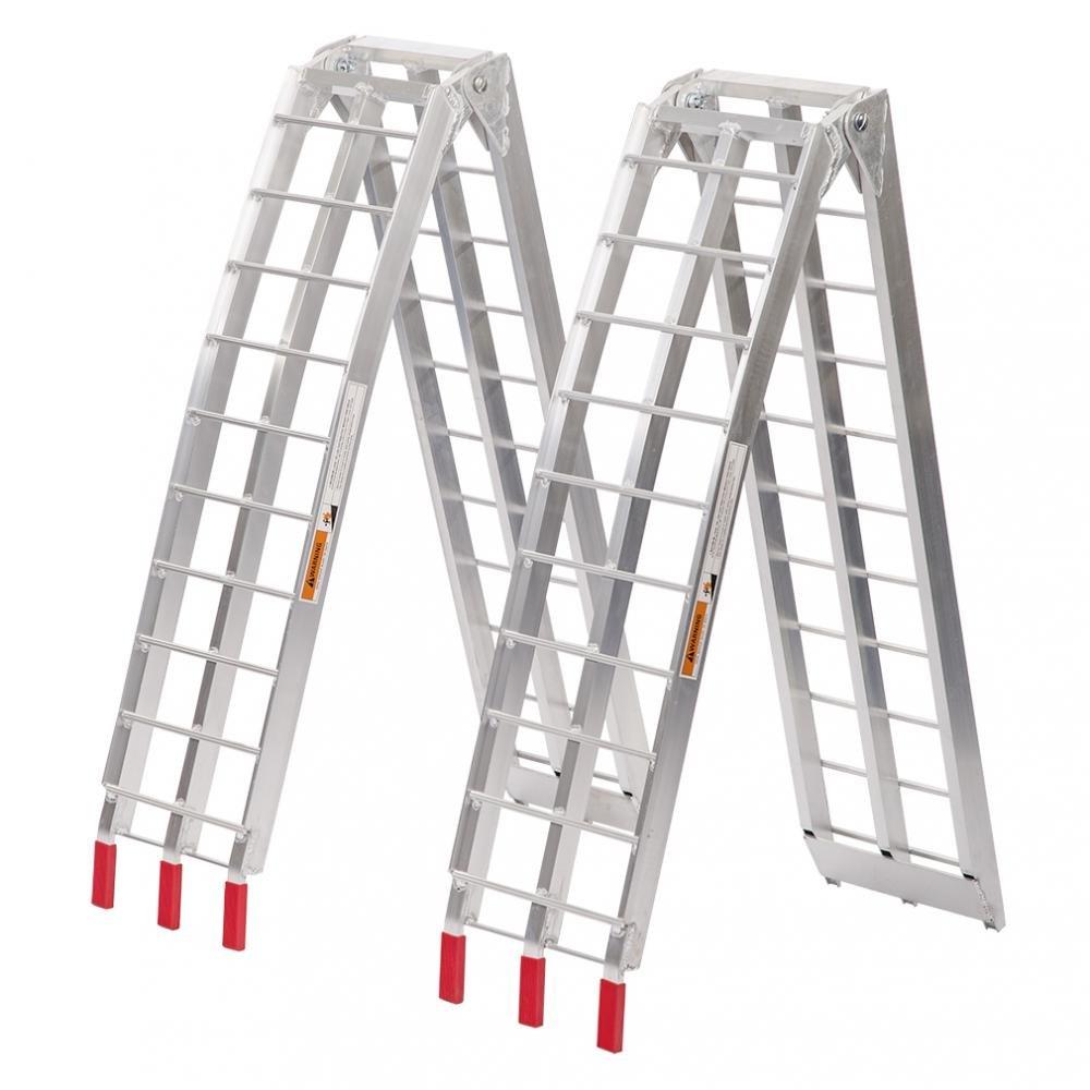 Set of 2 Aluminum Motorcycle Loading Ramp, 7 5 ft Folding Ramps Pair  Bestmassage