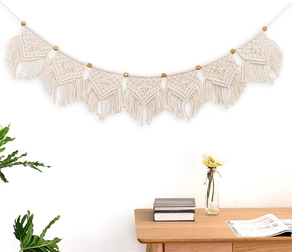 "Macrame Woven Wall Hanging Fringe Garland Banner Boho Chic Wall Decor Woven Home Decoration for Apartment Bedroom Living Room Gallery Baby Nursery, 7.9"" W x 43.3"" L"
