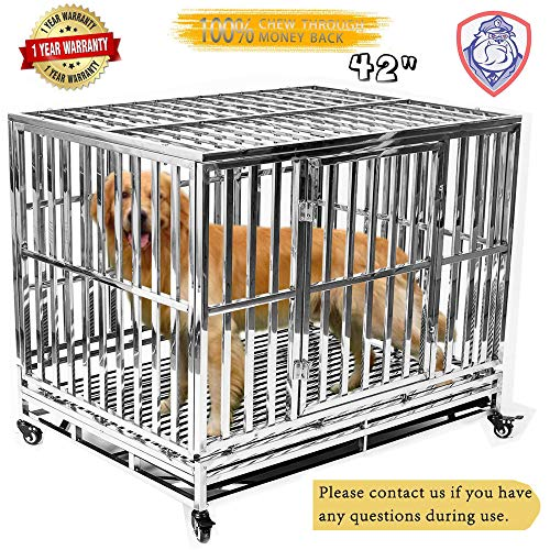 Haige Pet Your Pet Nanny 42'' Dog Crate Cage Kennel Playpen Heavy Duty Stainless Steel Outdoor Waterproof Never Rust for Large Dogs with Patent Lock and Four Wheels