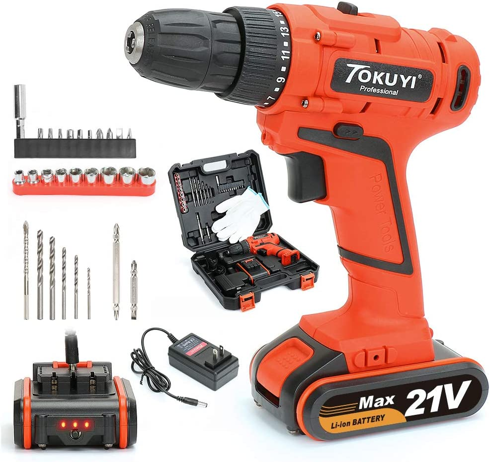 TOKUYI Cordless Drill Driver, 18V 1.5Ah Lithium-ion Cordless Screwdriver 17 1 Torque Setting with Led Light, 3 8-inch Keyless Chuck Max Torque 42N M and 1 Hour Fast Charger,29Pcs Accessories