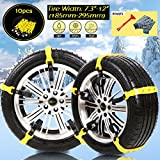 """[PATENTED CHAINS ] Snow Chains Anti-Skid Car Safety Chains, Emergency Traction Adjustable Chains Universal Anti Slip TIRE SNOW MUD Chains10pcs Car,SUV, Truck Width 7.3""""-12""""(185mm-295mm)"""