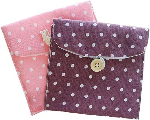 Doitsa, 2 piezas, pequeño monedero de tela para niña o mujer; bolsa para guardar toallas sanitarias, cambio, tarjeta de crédito, objetos pequeños; con botón y diseño con lunares; colores aleatorios.: Amazon.es: Hogar