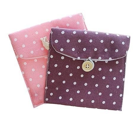 Doitsa, 2 piezas, pequeño monedero de tela para niña o mujer; bolsa para guardar toallas sanitarias, cambio, tarjeta de crédito, objetos pequeños; con ...
