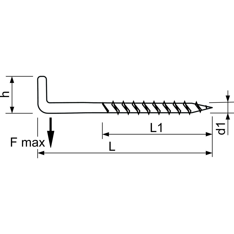 6 St/ück SECOTEC Schraubhaken gerade mit Holzgewinde vermessingt 4,8x50 mm
