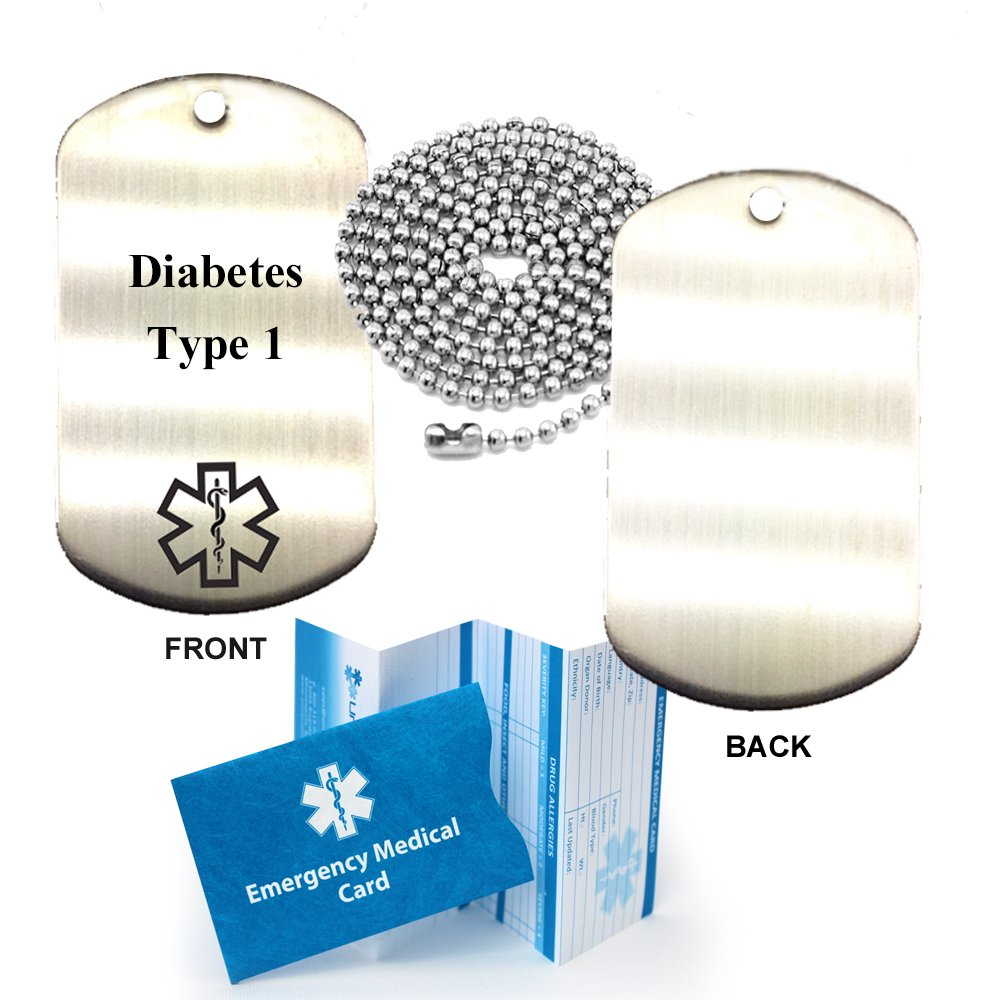 Amazon.com: Diabetes Type 1 Stainless Steel Medical Alert ID Dog Tag Pendant: Health & Personal Care